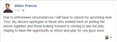 Dillon Francis cancels Asia Tour
