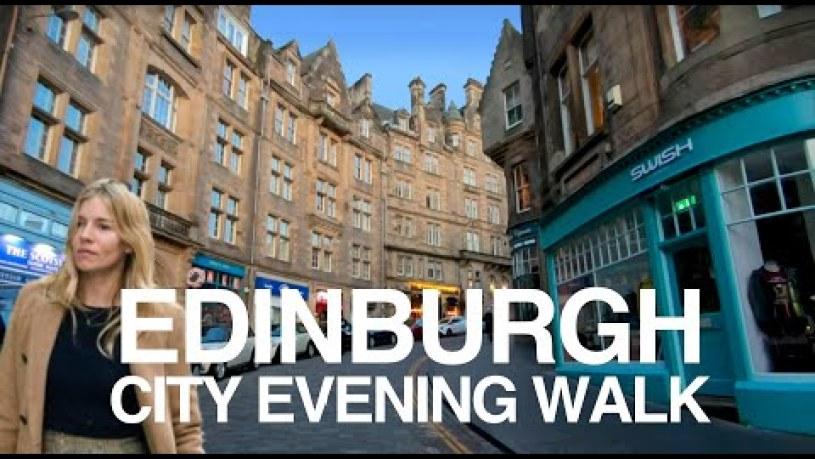 [4K] Edinburgh, Scotland. Evening walking tour of Edinburgh City Centre.