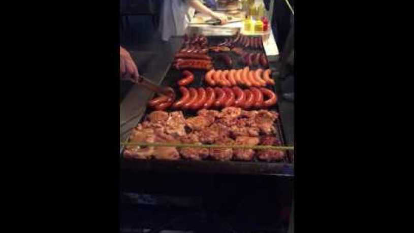 Montreal Saint Laurent street food. Yummmy sausages