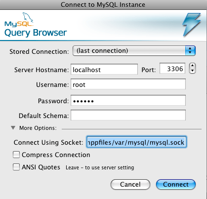 MySQL socket connection