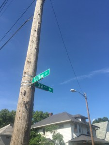 A street sign, in the heart of a food desert in Indy.