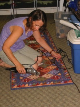 Teacher and punch needle guru Amy Oxford at Vermont's Fletcher Farm for Arts and Crafts in 2008.