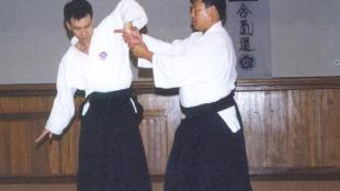 Elevated wrist lock, also called mochi mowari in Jujitus or sankyo in Aikido