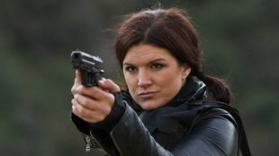 "Gina Carano, former MMA champion, starring in the film, ""Haywire""."