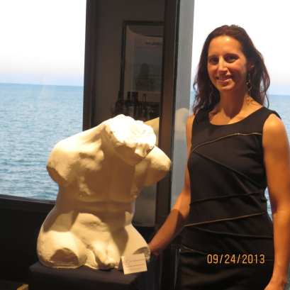Jyl Bonaguro and her hand carved statue