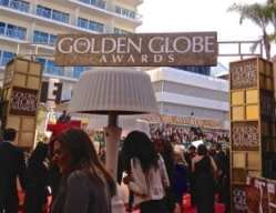 Entrance to the red carpet at the 70th annual Golden Globe Awards in Los Angeles, California.