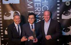 (l to r) Chicago International Film Festival Director Michael Kutza presented President and Executive Producer of STORY Mark Androw and Executive Producer of STORY Cliff Grant with the Commitment to Excellence Award for Television Commercials at the 50th Chicago International Film Festival Awards.