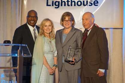 ABC 7 News' Hosea Sanders, Lighthouse President and CEO Dr. Janet Szlyz, ABC 7 News director Jennifer Graves, and Lighthouse Board Chair Richard Schnadig - Courtsey of Robert Sit