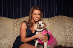 Grand Ballroom Emcee and ABC 7 Meteorologist Cheryl Scott with her dog Lola