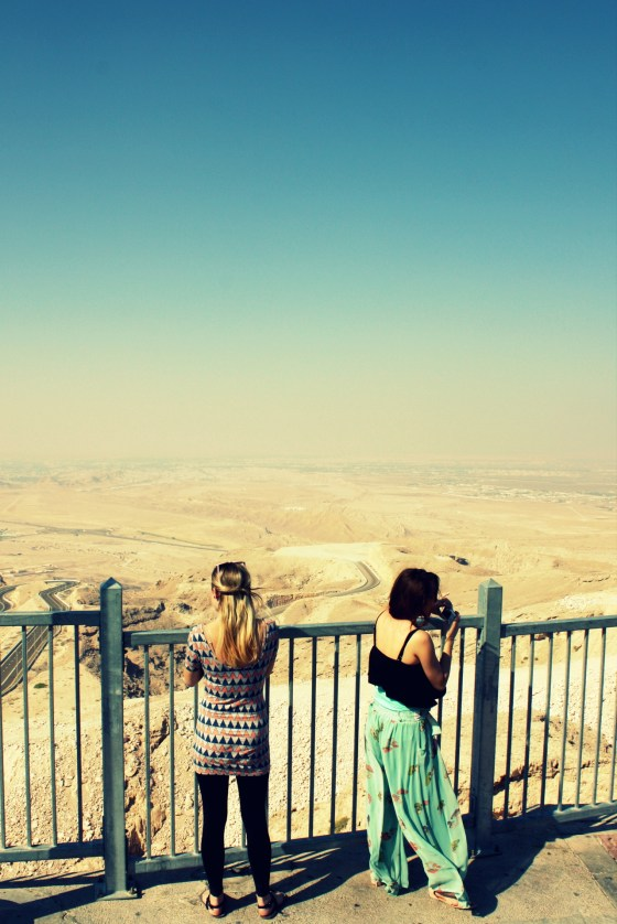 Little miss Canada and another fly girl enjoy the view from Jebel Hafeet in Al Ain UAE