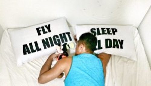 Often flight attendants must sleep during the day to fly through the night