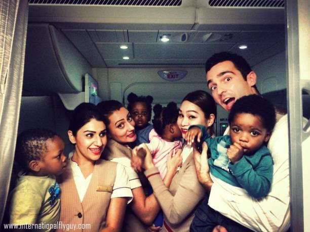 Cabin Crew enjoying time spent with their passengers