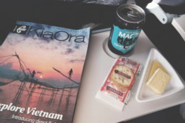 Air New Zealand domestic wine and snack service