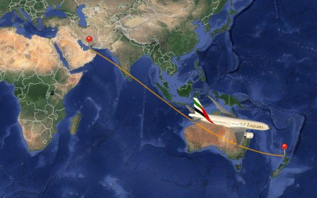 Emirates Flight 448 from Dubai to Auckland is currently the longest flight in the world (Map from oole.com
