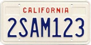 California plate 1987