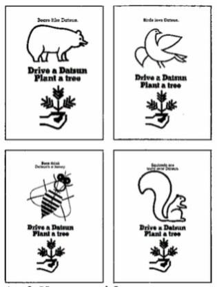 Drive a Datsun Plant a Tree newspaper ads