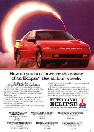 1990 Mitsubishi Eclipse GSX ad 01