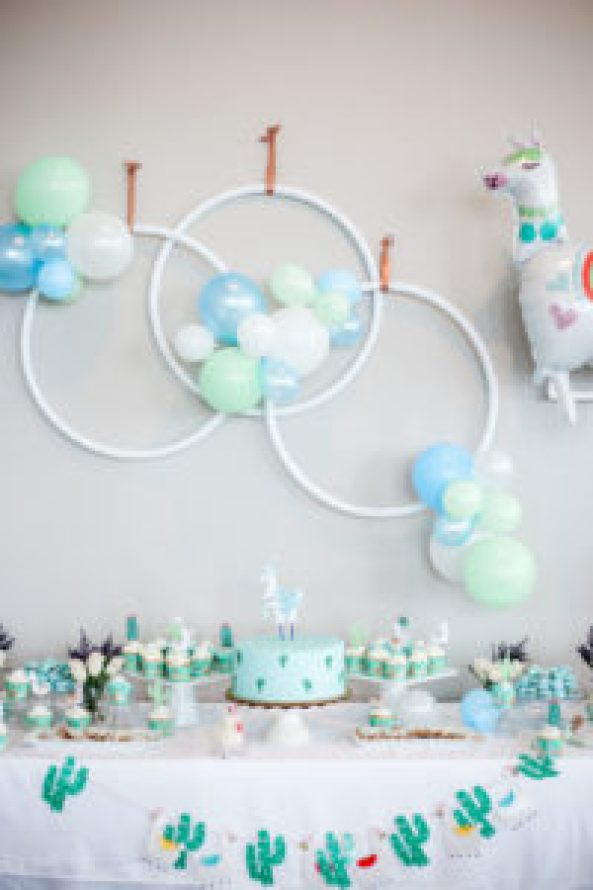 Llama Baby Shower sweets table with balloon backdrop