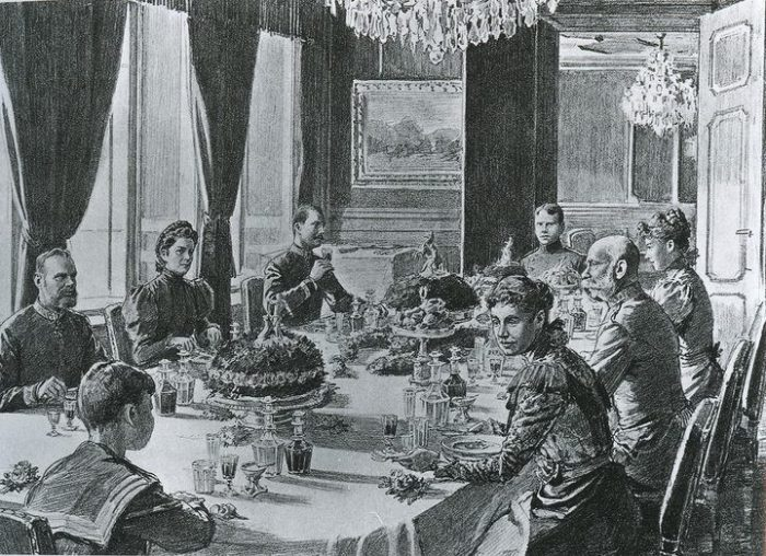 "Franz-Josef I and Elisabeth ""Sisi"" of Austria and Hungary at the table. As the emperor ate tafelspitz almost every day, this certainly must be the famous Viennese boiled beef dish in those soup plates."