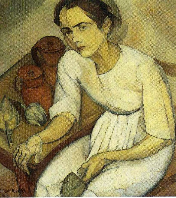"""Diego Rivera """"La jeune fille aux artichauts"""" 1913. I think of Rivera's painting when the question of Frida Kahlo's """"mysterious obsession"""" with artichokes comes up as it does in Bruno Ciccaglione little book on artichokes (in """"Artischoke"""", Vienna, Mandelbaum """"Kleine Gourmandisen"""", 2016)."""