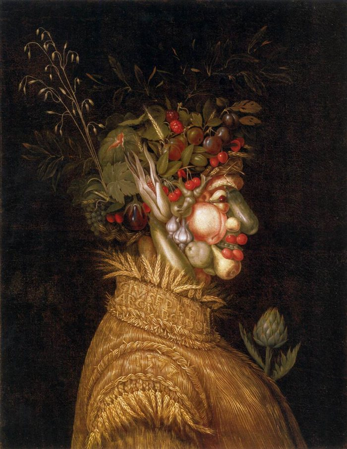 """Giuseppe Arcimboldo """"Estate"""" (Summer), 1572 (Kunsthistorisches Museum Vienna): Freud certainly noticed the artichoke sticking out of the women's bosom during one of his many visits to the newly opened Kunsthistorische Museum on Vienna's pompous Ringstraße. All fruits and vegetables in the painting are symbolic of the summer except for the artichoke, which grows from December to April in Italy. Sometimes an artichoke is just an artichoke, but not in this instance."""