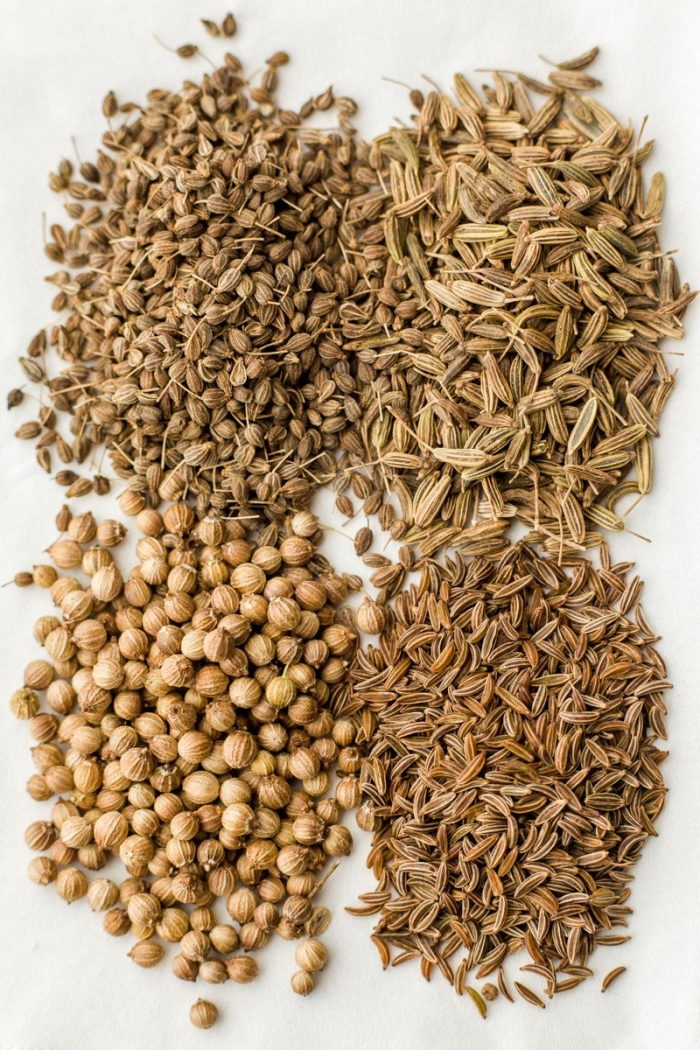 The spices for spice mixture of the old-Vienna-style no-knead bread: caraway seeds, anise seeds, fennel seeds and coriander seeds.