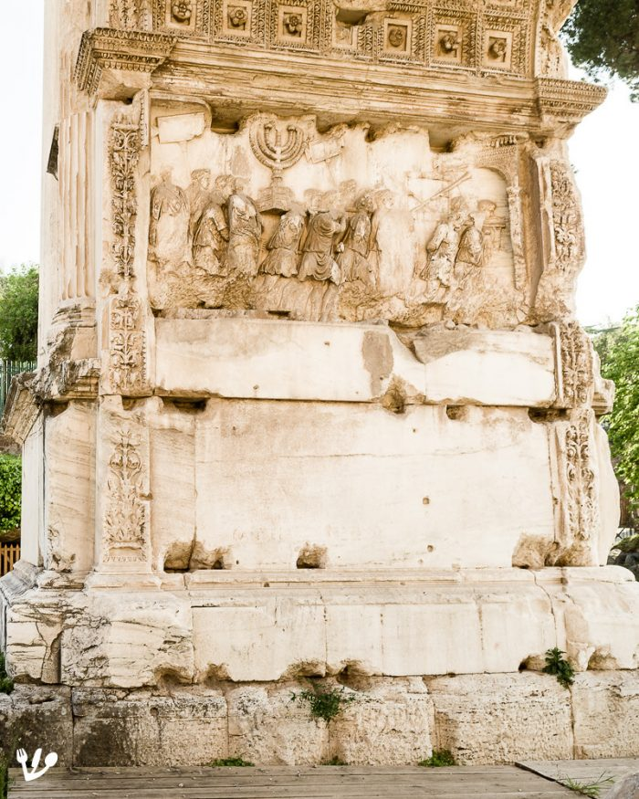 The symbol of the Jewish diaspora, the people of the artichoke, on the famous relief of the Arch of Titus at Via Sacra in Rome. (It depicts the captive Jews after the destruction of the Temple as they were forced to walk through the arch. The Jews later refused to walk through this arch until the creation of the modern state of Israel. Rabbinical authorities reversed their decision, but it stood as late as 1997.)