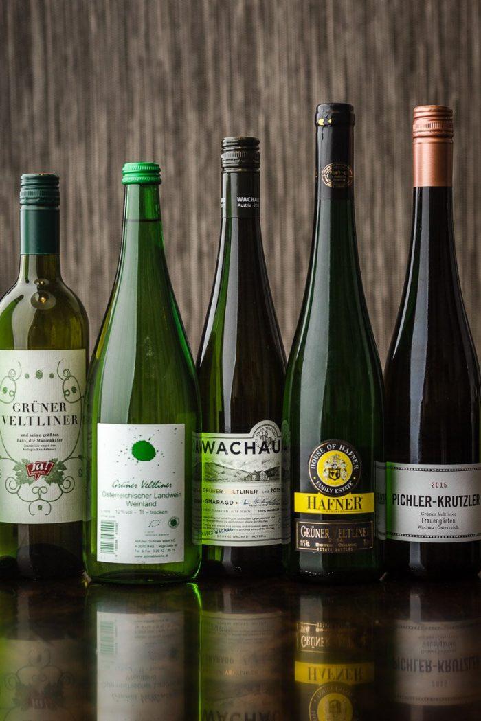 "Assortment of budget-friendly Grüner Veltliner wines to cook with. The Hafner is the organic kosher one. Pichler-Krutzler's ""Frauengärten"" tops the bunch by far."