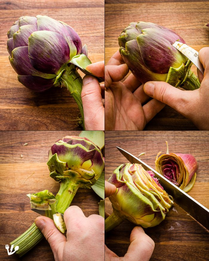 """You don't want to """"eat and spit,"""" as they say in Rome. So first snap off all the outer artichoke petals until you reach the lighter-colored inner ones. Then use a paring knife to cut the outer leaves of the artichokes in a rising spiral motion. If you're in a hurry, simply skip this step and proceed directly to cut off the top fibrous part of the artichoke leaves."""