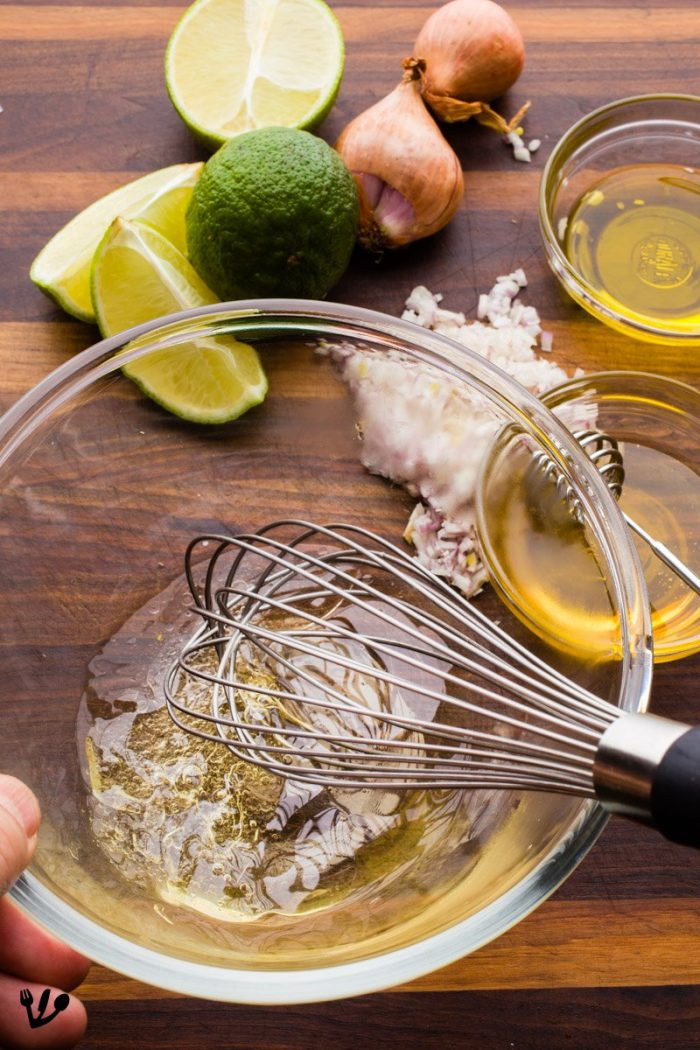 While the asparagus cooks, you can make a light vinaigrette with lime and champagne vinegar or any other excellent local sparkling wine vinegar (or reduce the acidity of a regular vinegar by mixing with water).