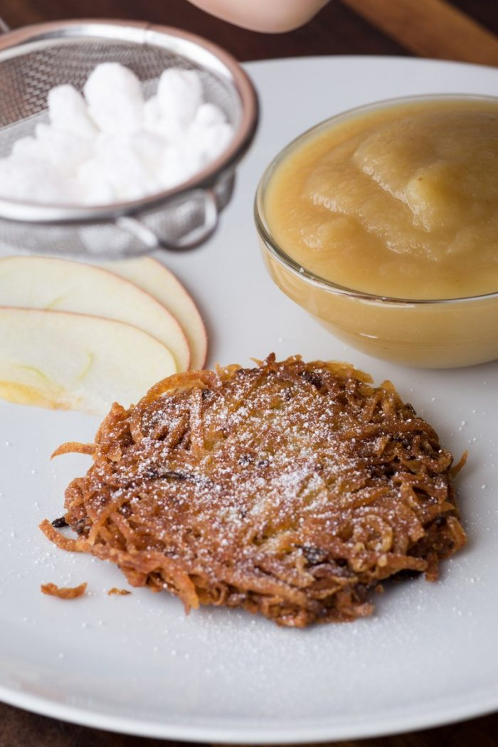 Latkes are delicious with the traditional apple sauce, sour cream and a dusting of confectioner's sugar.