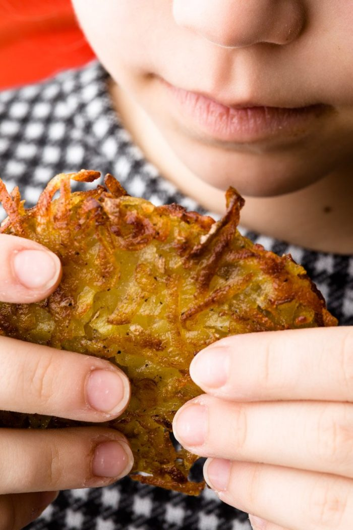 Children can eat countless crispy latkes charged with fat and carbohydrates.