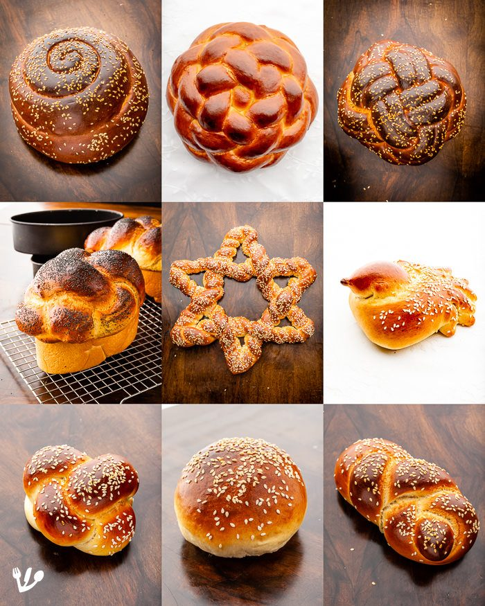 More shapes from TOP, left to right: 1) Spiral or coil shape for the holidays from Rosh Hashanah to Hoshanah Raba. 2) Six-strand Magen David or Star of David challah. 3) Four-strand round Challah for the holidays from Rosh Hashanah to Hoshanah Raba. MIDDLE: 1) Challah from a traditional tin. 2) Magen David or Star of David challah. 3) Little bird for Yom Kippur as the sins should fly away like birds and for a vers from Yeshayahu (Isaiah) As hovering birds, so will the Lord of hosts shield Jerusalem. BOTTOM: 1) Knot 2) Bun 3) Roll.