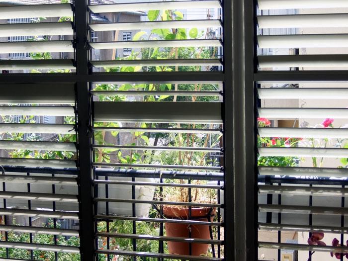 Shutters of a balcony in an Tel Aviv suburb