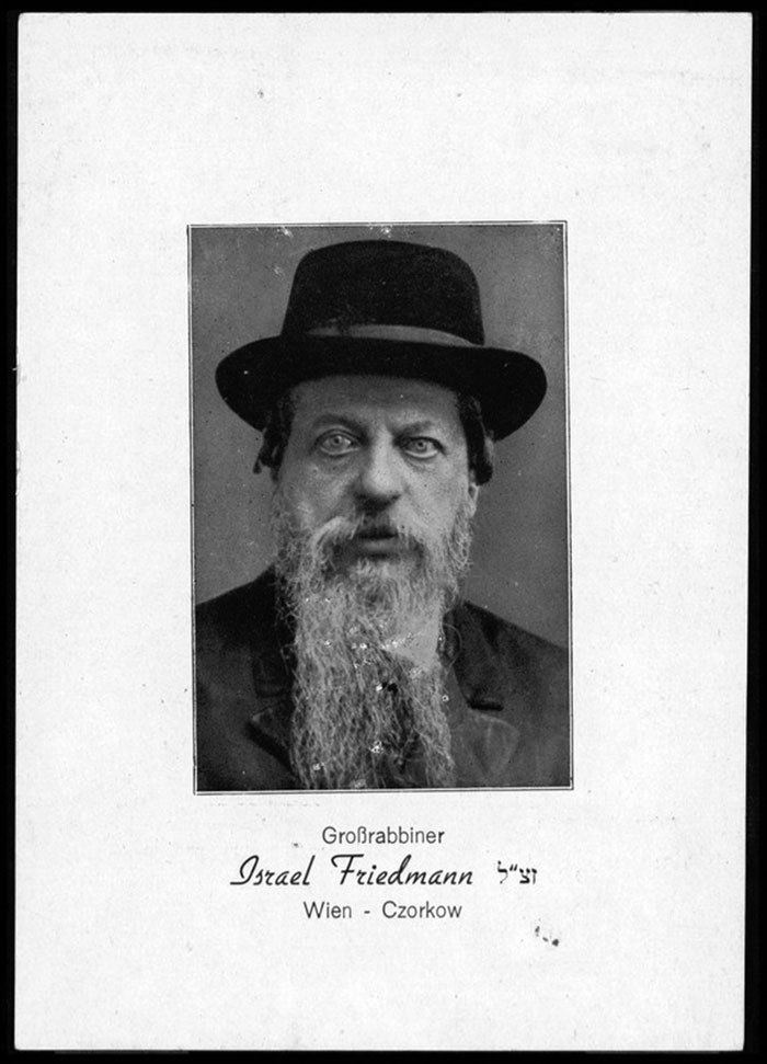 """The legend reads: """"Großrabbiner,"""" Grand Rabbi Israel Friedmann sz""""l (abbreviation for """"zichroino livrucha,"""" """"may his memory be for a blessing"""") """"Wien,"""" Vienna – Czorkow (Photo: National Library of Israel)."""