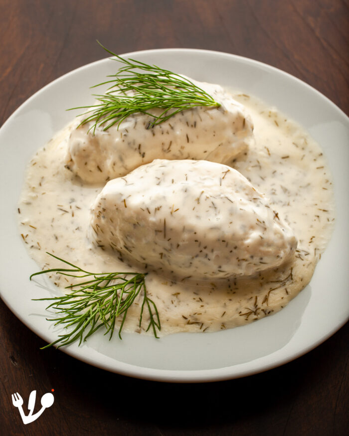 """Gefilte fish's gentile relative, the pike quenelle, which is a kosher fish by the way and often used in """"gefilte fish."""" Here, in this picture, Vienna's very delicate and exquisite pike dumplings in dill sauce, """"Hechtnockerln"""" in Viennese German. I used Ewald and Mario Plachutta's recipe from their reference cookbook Viennese Cuisine. The dumplings are pretty straight forward like the french ones, the sauce though is typically Viennese and so delicious."""