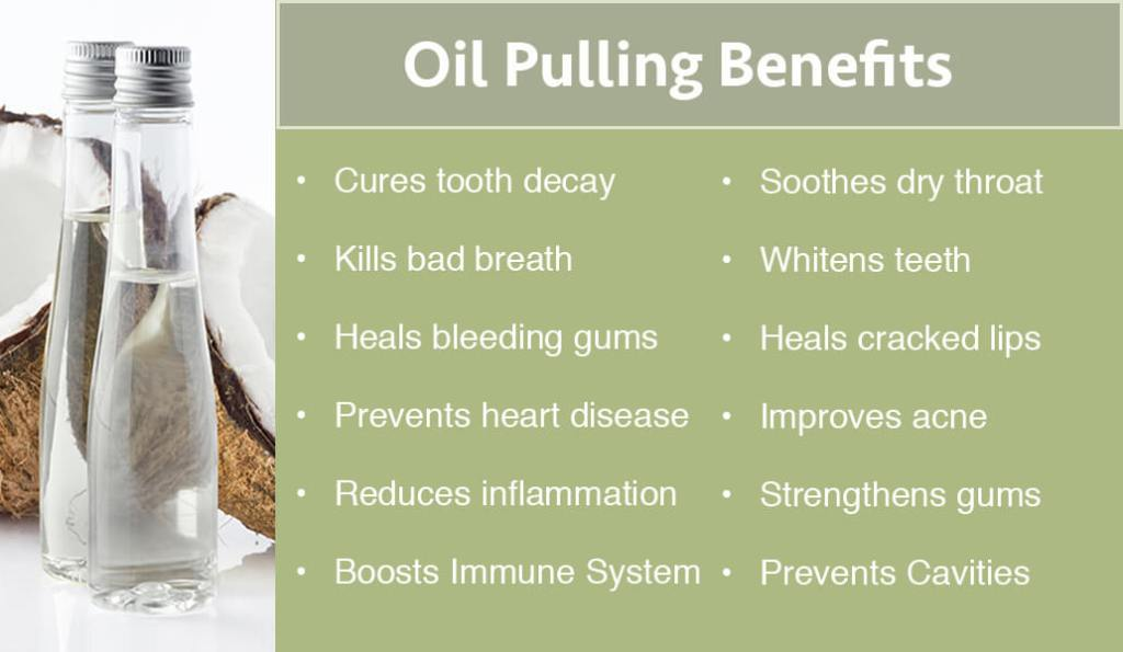 "Image text: ""Oil pulling benefits: cures tooth decay, kills bad breath, heals bleeding gums, prevents heart disease, reduces inflammation, boosts immune system, soothes dry throat, whitens teeth, heals cracked lips, improves acne, strengthens gums, prevents cavities."""
