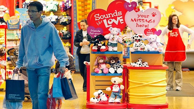 A buyer leaves the Build A Bear store at South Shore Plaza, Braintree, Massachusetts, Wednesday, February 10, 2010. (Credit: AP Photo / Michael Dwyer)