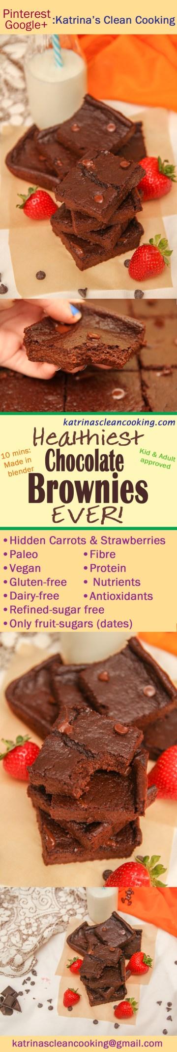 Healthy Chocolate Brownies #Healthy #Recipes #KatrinasCleanCooking