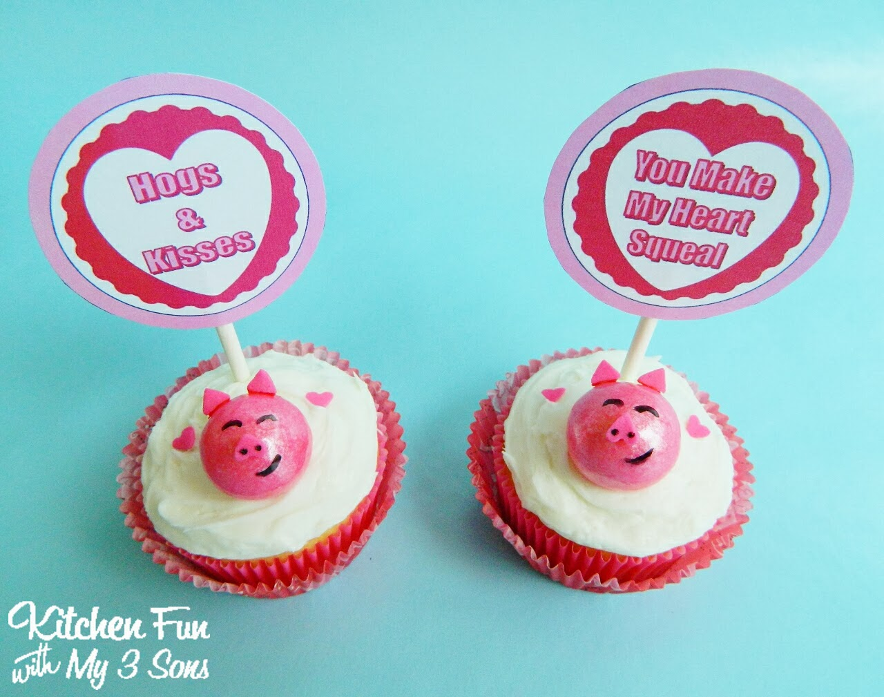 Easy Valentine Piggy Cupcakes With FREE Printables