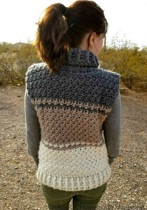6ee6e948a Next we have the Raven Vest. This pattern uses the double crochet  cross-over stitch to create a stunning yet light and breathable texture.