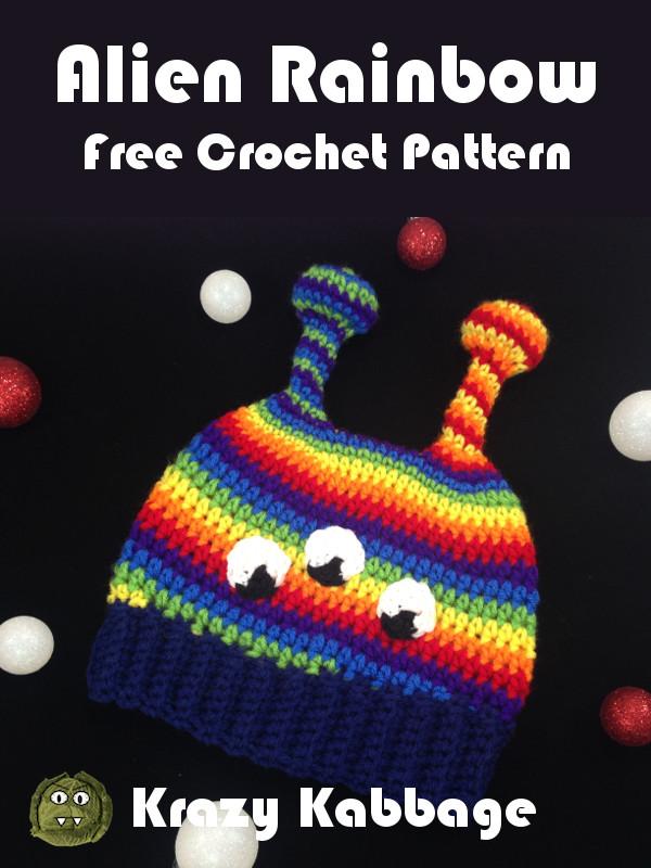 Alien Rainbow Beanie Hat Free Crochet Pattern Krazy Kabbage