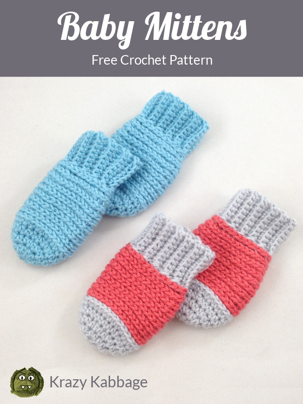 Ribbed Baby Mittens Free Crochet Pattern Krazy Kabbage