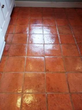 Terracotta Floor After Cleaning and Sealing