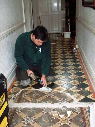 Victorian Tiled Hall Restoration in Progress