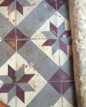 Encaustic Cement Tile Before Cleaning at the French Chateaux Reims Zoom
