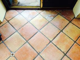 Terracotta conservatory floor During cleaning Garstang