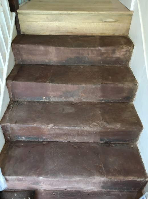 Red jurassic sandstone steps after burnishing