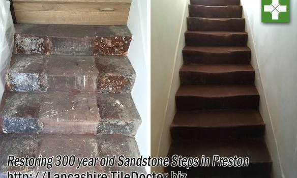 Red jurassic sandstone steps before and after restoration in Preston