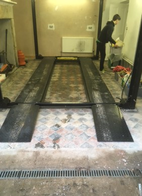 Lancaster Garage Victorian Tiled Floor Before Cleaning